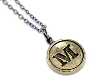 Letter M Charm Necklace - White Bronze Initial Typewriter Key Charm Necklace - Gwen Delicious Jewelry Design