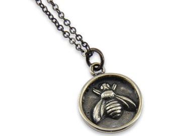 Honey Bee Jewelry, Honey Bee Wax Seal Necklace, Silver Honey Bee Wax Seal Pendant  Sterling Silver Necklace