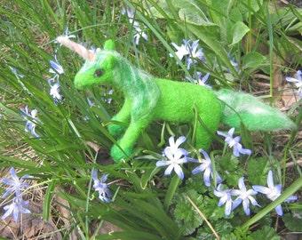 OOAK Emerald Green Far Star Unicorn Needle Felted Soft Sculpture