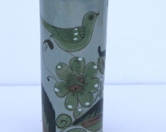 Vintage 1970's Ken Edwards Mexican Mexico Pottery Vase Bird and Floral Design