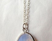 translucent pink opal glass drop necklace ( in gold or silver )