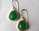 opaque green glass drop earrings ( in gold or silver )