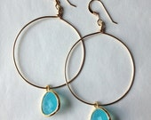 SALE: light blue glass drop hoops ( in gold or silver )