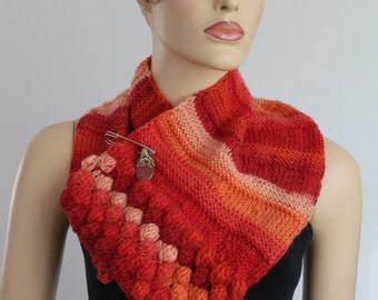 Apricot orange red Hand Knitted Bubble  Scarf , Crochet Scarf, Knit Cowl,  Neck Warmer-  Pin- Natural Stone