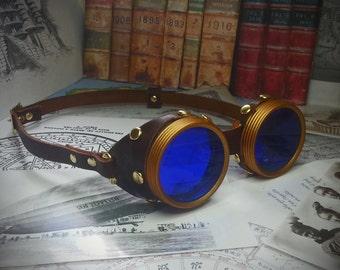 Steampunk Goggles Brass & Brown Leather - The Commander , Dieselpunk, Adventurer, Time Traveller, Explorer, Airship, Kraken, Burning Man