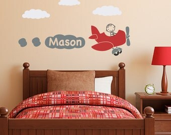 Airplane Wall Decal with Personalized Boys Name - Plane Wall Sticker - Boy Bedroom Decor - Children Wall Decals
