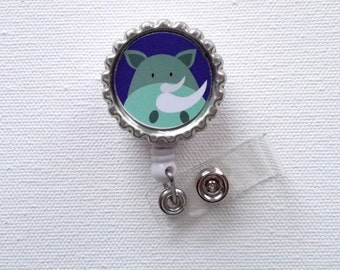 Rhino - Retractable Nursing Badge Reels - Nurses Badge Holder - Animal ID Badge Reel - Nurse - Preschool Teacher Badge