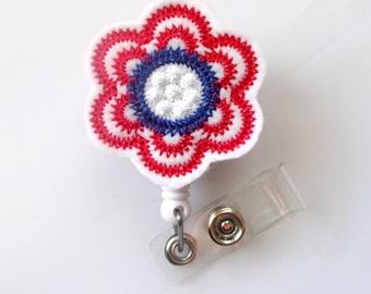 Patriotic Flower  - Retractable ID Felt Badge Holder - Name Badge Holder - Cute Badge Reel - Nursing Badge - Felt Badge Reel