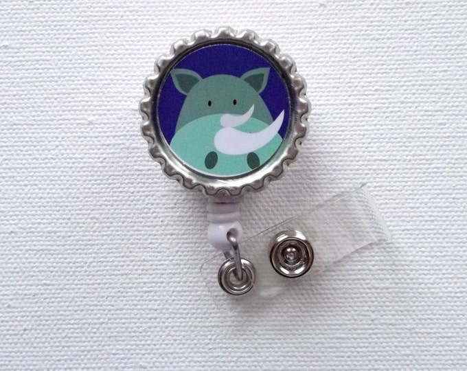 Rhino - Retractable Nursing Badge Reels - Nurses Badge Holder - Animal ID Badge Reel - Nurse - Preschool Teacher Badge