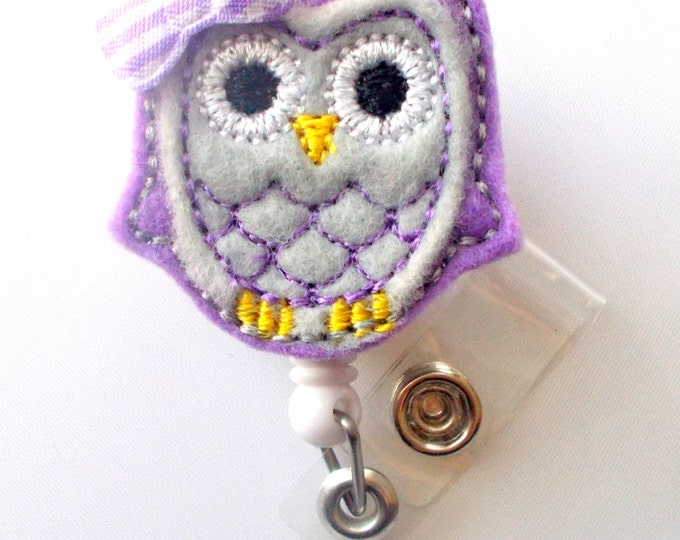 Purple Passion Owl w Bow - Retractable Badge Reel - Name Badge Holder - Cute Badge Reel - Nurse Badge Holder - Nursing Badge - Feltie Badge