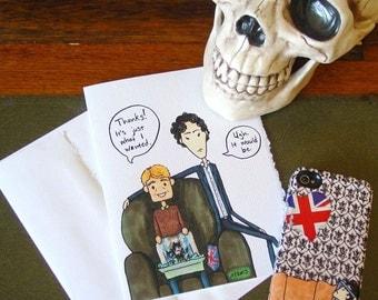 Sherlock Thank You Card v1 - BBC Sherlock Holmes and John Watson