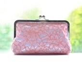 SALE Silk Lace - Pink on White - Bridal Bridesmaid Wedding Clutch Set Bag Purse Gift Ideas Handmade by Lolis Creations