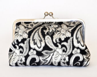 Silver Black Brocade Bridesmiad Bride Wedding Clutch Bridal Purse Gift Ideas Handmade by Lolis Creations