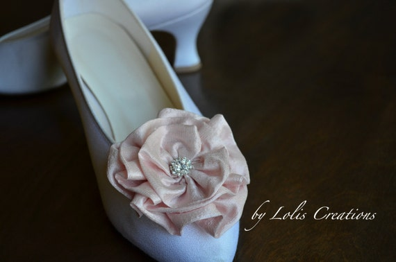 Wedding Light Pink Silk Rhinestone Flowers Shoe Clips by Lolis Creations Bridesmaid Bridal Gift - Choose your color