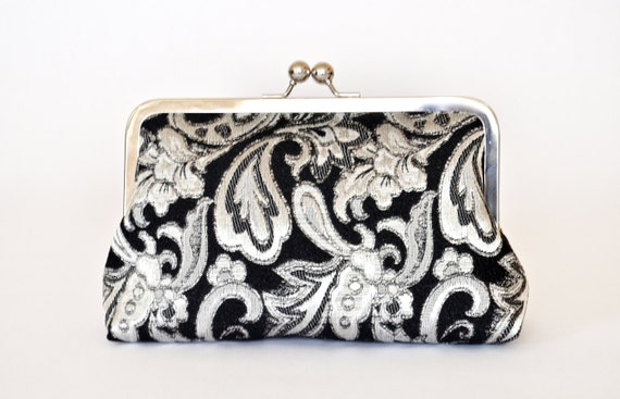 Silver Black Brocade Bridesmiad Bride Wedding Clutch Bridal Purse Gift Ideas Handmade by Lolis Creations