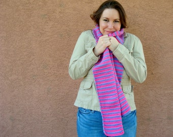Pink and Purple Striped Scarf for Women - Purple and Pink Scarf - Crochet Stripe Scarf - Bright Scarf - Hoooked Scarves