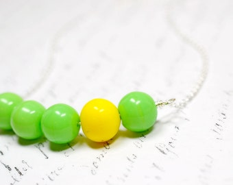 Lime Green and Yellow Necklace, Beaded Asymmetrical Necklace, Bright Vibrant Jewelry, Modernist Necklace, Modern Cluster Bar Necklace