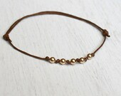 Round Beads Bracelet - 5 Gold-Filled or Sterling Silver Beads (many colors)