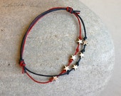 July 4th Stars Bracelet / Star Anklet (many colors of thread to choose)