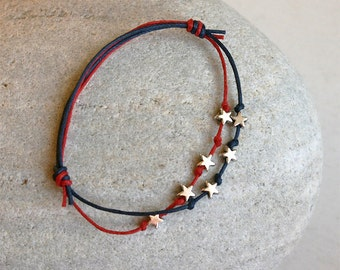4th of July Bracelet, 4th of July Anklet, July 4th Stars Bracelet, Star Bracelet, Star Anklet (many colors of thread to choose)