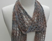 Scarf- Hand Knit/ Silk Boucle-  Beige, Fawn, Gray