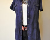 "Purple Medium Denim Shirt DRESS - Deep Violet Hand Dyed Upcycled Urban NY Jeans Denim Shirt Dress - Adult Womens Size 12 medium (42"" chest)"