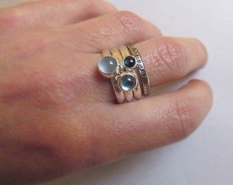 Stacking Rings, Set of 4 Sterling Silver Rings with 3 Gems of Your Choice