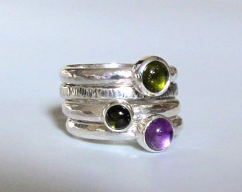 Stacking Rings in Green and Purple, Set of 4 Sterling Silver Rings with 3 Gems.Tourmalines and Amethyst, size 7