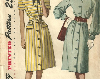 Vintage 40s Sewing Pattern / Simplicity 1938 / Dress / Size 16 Bust 34