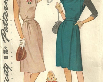 Simplicity 1414 / Vintage 40s Sewing Pattern / Dress / Size 16 Bust 34