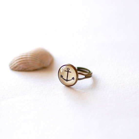 SALE -50% OFF. Anchor Ring. Nautical Ring. Glass Dome Ring. Summer Ring. Adjustable Ring. Anchor Jewelry.