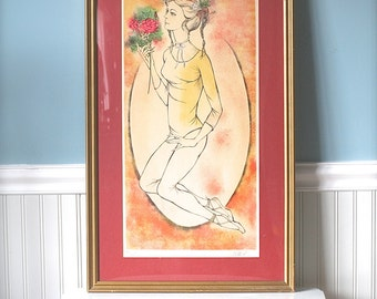 Lithograph, Vintage Framed Art Signed Lithograph Ballet Dancer Holding Bouquet