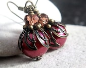 Purple Pearl Glass Bead Earrings - A.24