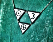 Triangle circle symbol necklace black and white earth sun moon occult pentagram necklace with silver plated chain NEW