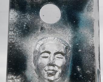 Buddha Head Sculpture Glass Art Prism Block Optical Face Smile, A Clear Mind, Suncatcher Paperweight Halo Moon Window