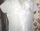 Short Sleeve Sheer White V Neck Blouse with Cascading Fortuny Lace Ruffles 60s Vintage