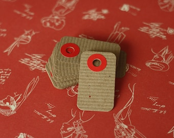Small Ribbed Brown RED reinforced hang tags petite price labels