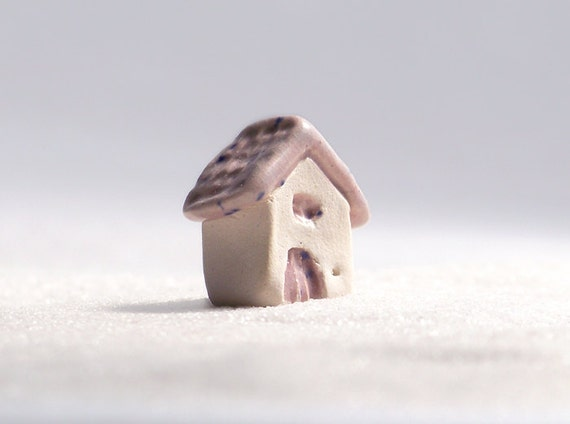 The fairy cottage with a pink roof, ceramic house with mauve colored glaze - lil village no8