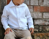 boys shirt  - boys linen shirt white pure linen long sleeve