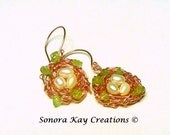 Wire Wrapped Copper Birds Nest Earrings with Rice Pearl Eggs Custom Made to Order