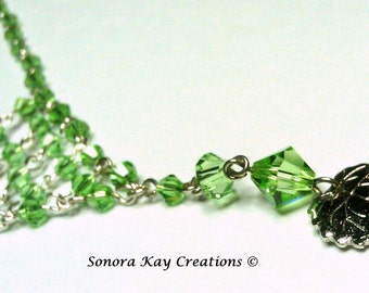 Peridot Green Glass Wire Wrapped Necklace and Earring