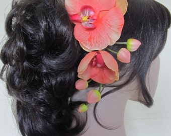 Hawaiian Exotic Coral Orchids cascade Hair flower Comb