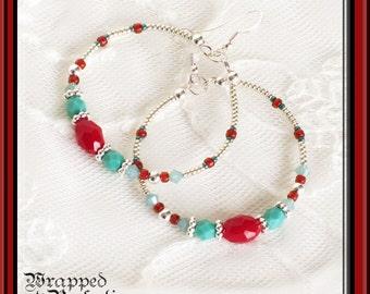 Turquoise, Red & Silver Hoop Earrings / Dangle / BoHo Bohemian Gypsy / Sterling Silver Ear Wires / Swarovski / Large Seed Bead Hoop / Trendy