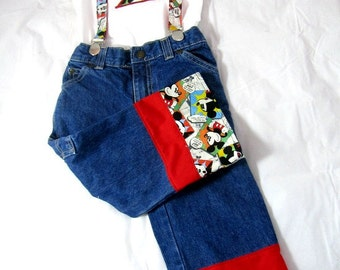 Mickey Birthday Outfit: Boy Birthday Outfit, Clothing, Mickey jeans, shirt, suspenders, upcycled, birthday age, number