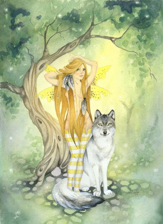 The Wolf's Fairy Fairy Art Watercolor Print fantasy.