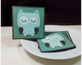 Light Mint Vintage Green and Grey dot Owl- Mini Cards Thank You Cards  ( Set of 4)