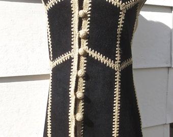 Vintage 1970's Black Suede & Ecru Knit Patchwork Knee-Length Vest by TARRI sz small