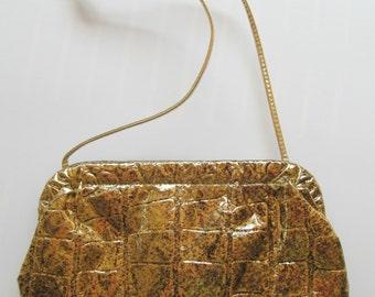 1980s Funky Gold Foil Reptile Clutch Purse