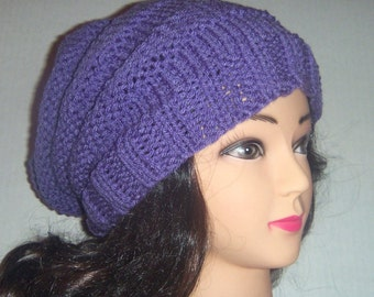 Womans Slouchy Beehive Beanie Hat in Lavender, Purple Knit Hat, Womens Fashion, Womans Accessories, Teen Hat