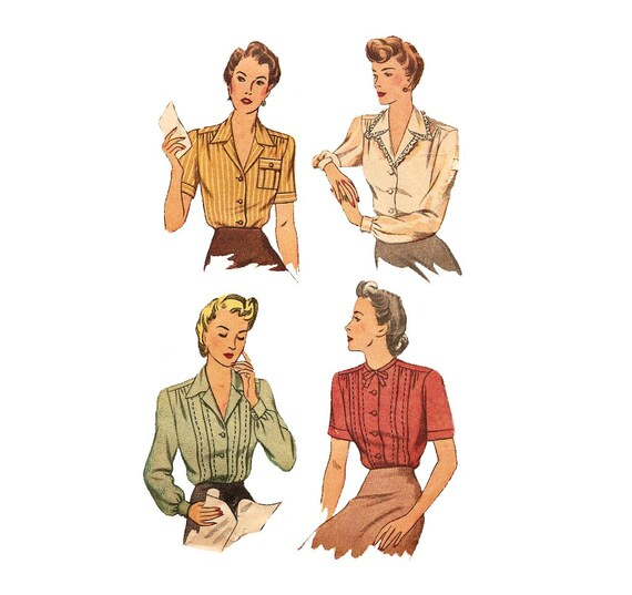 1940s womens blouse simplicity 4608 vintage pattern bust 34